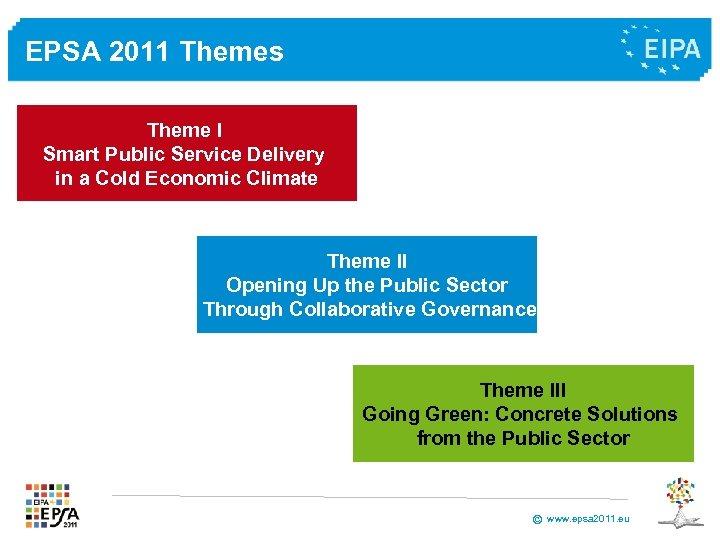 EPSA 2011 Themes Theme I Smart Public Service Delivery in a Cold Economic Climate
