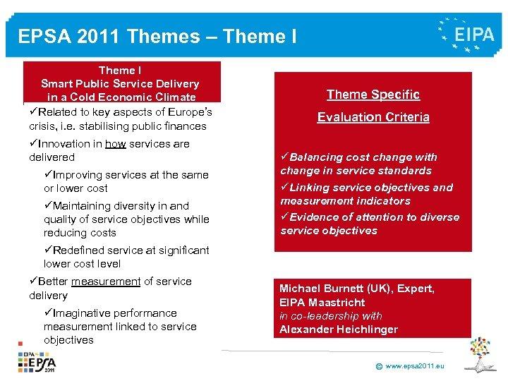 EPSA 2011 Themes – Theme I Smart Public Service Delivery in a Cold Economic