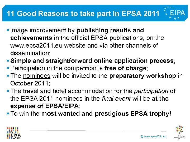 11 Good Reasons to take part in EPSA 2011 § Image improvement by publishing