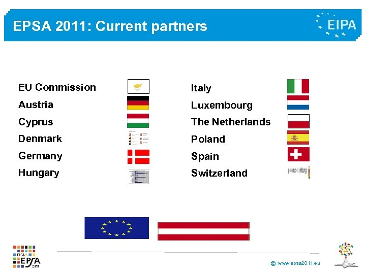 EPSA 2011: Current partners EU Commission Italy Austria Luxembourg Cyprus The Netherlands Denmark Poland