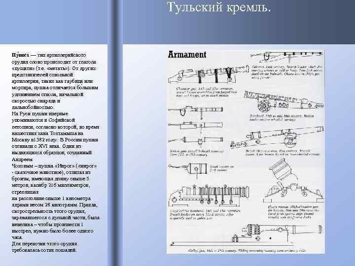 Тульский кремль. Пу шка — тип артиллерийского орудия слово происходит от глагола «пущати» (т.