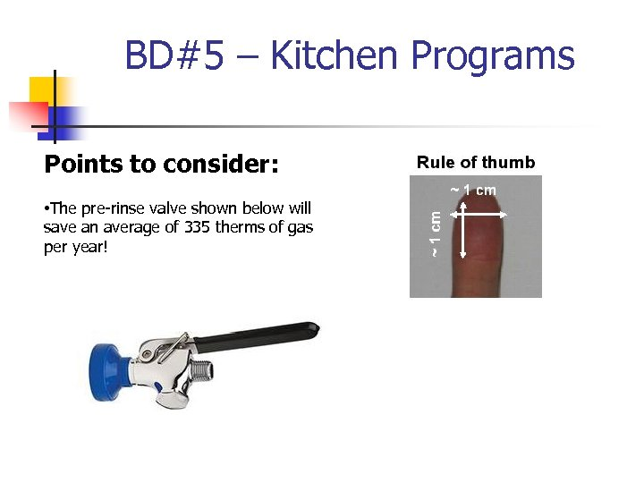 BD#5 – Kitchen Programs Points to consider: • The pre-rinse valve shown below will