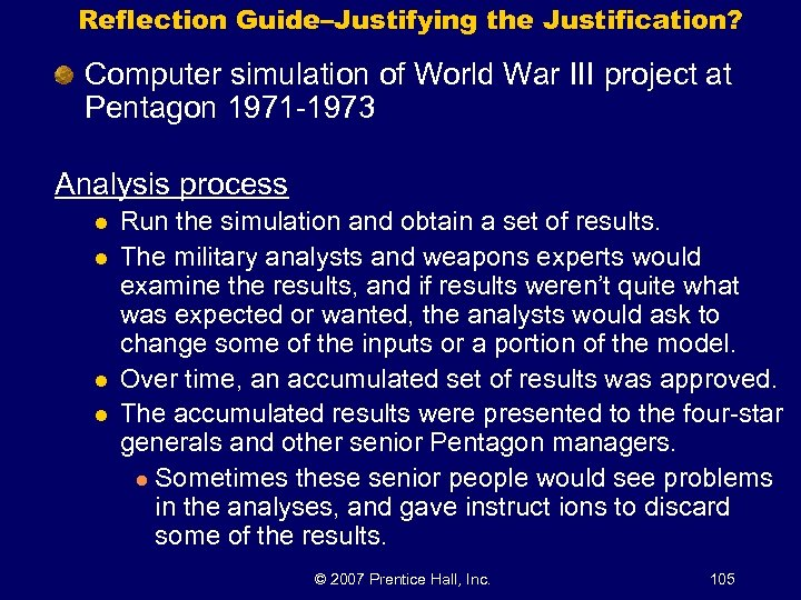 Reflection Guide–Justifying the Justification? Computer simulation of World War III project at Pentagon 1971