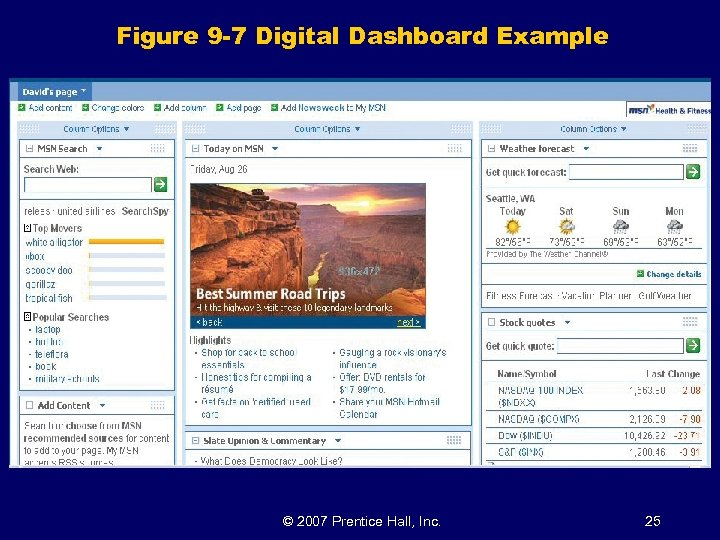 Figure 9 -7 Digital Dashboard Example © 2007 Prentice Hall, Inc. 25