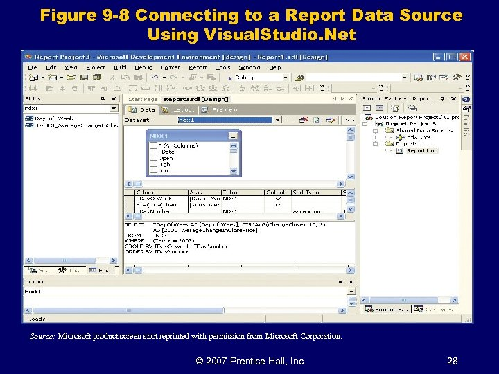 Figure 9 -8 Connecting to a Report Data Source Using Visual. Studio. Net Source: