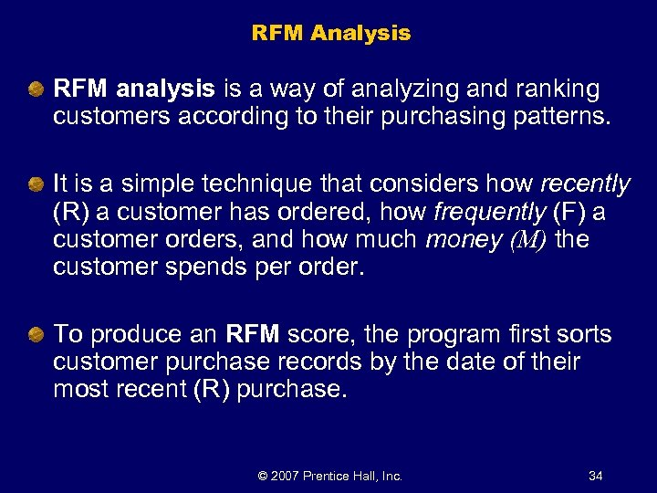 RFM Analysis RFM analysis is a way of analyzing and ranking customers according to