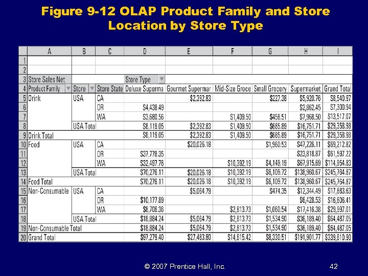 Figure 9 -12 OLAP Product Family and Store Location by Store Type © 2007