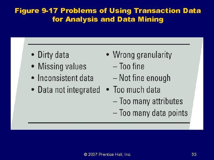 Figure 9 -17 Problems of Using Transaction Data for Analysis and Data Mining ©
