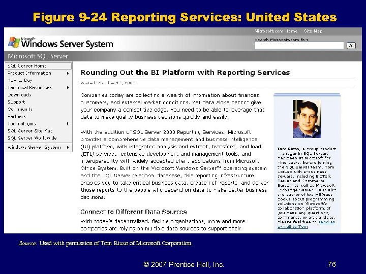 Figure 9 -24 Reporting Services: United States Source: Used with permission of Tom Rizzo