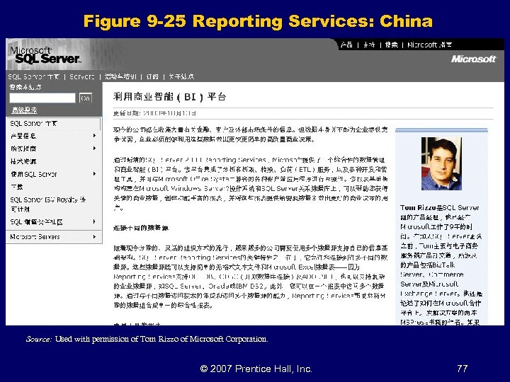 Figure 9 -25 Reporting Services: China Source: Used with permission of Tom Rizzo of