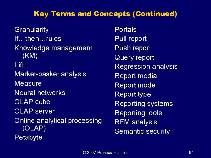 Key Terms and Concepts (Continued) Granularity If…then…rules Knowledge management (KM) Lift Market-basket analysis Measure