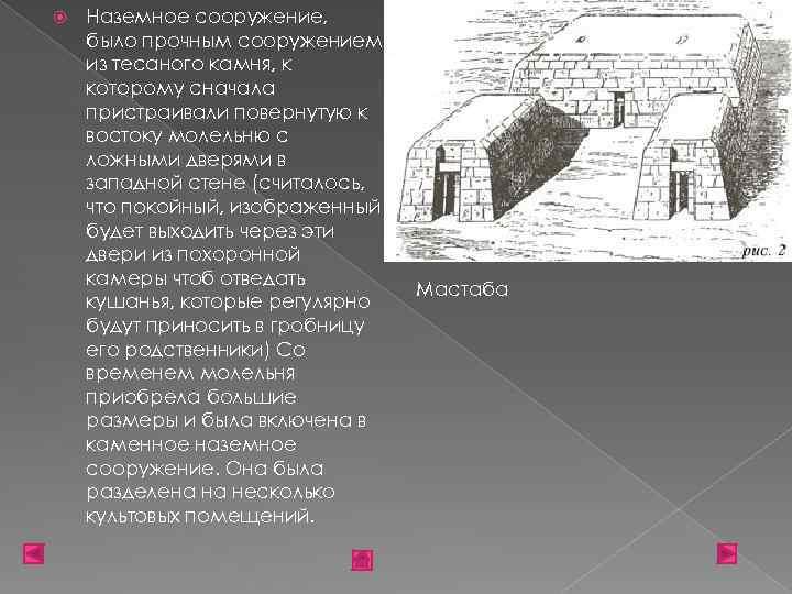 Наземное сооружение, было прочным сооружением из тесаного камня, к которому сначала пристраивали повернутую