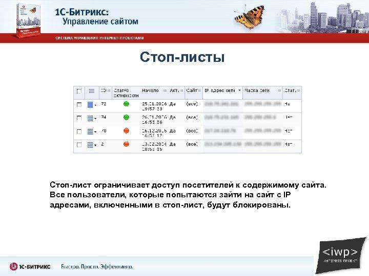 Стоп-листы Стоп-лист ограничивает доступ посетителей к содержимому сайта. Все пользователи, которые попытаются зайти на