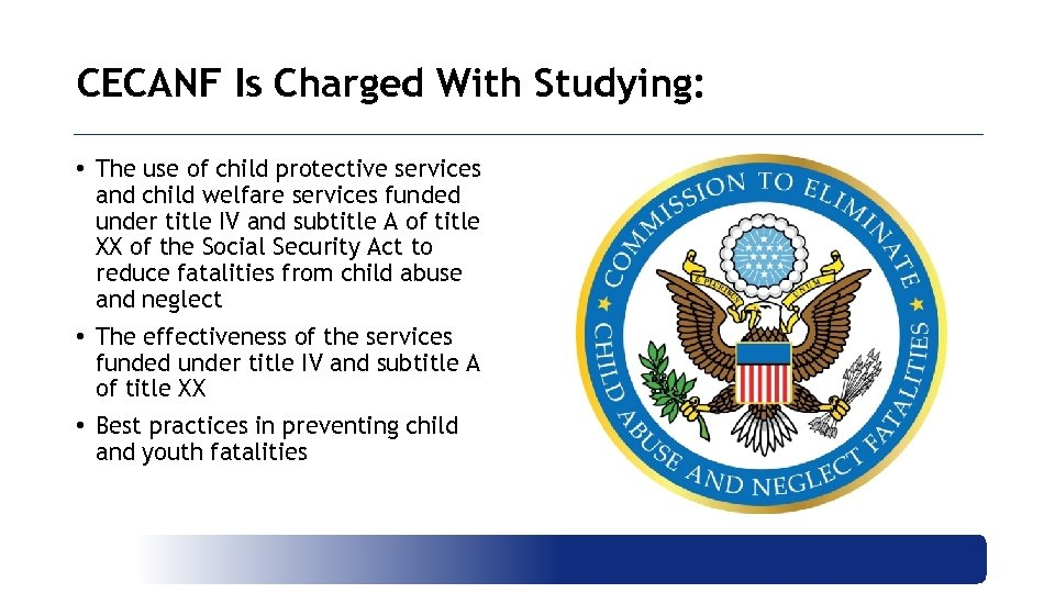CECANF Is Charged With Studying: • The use of child protective services and child