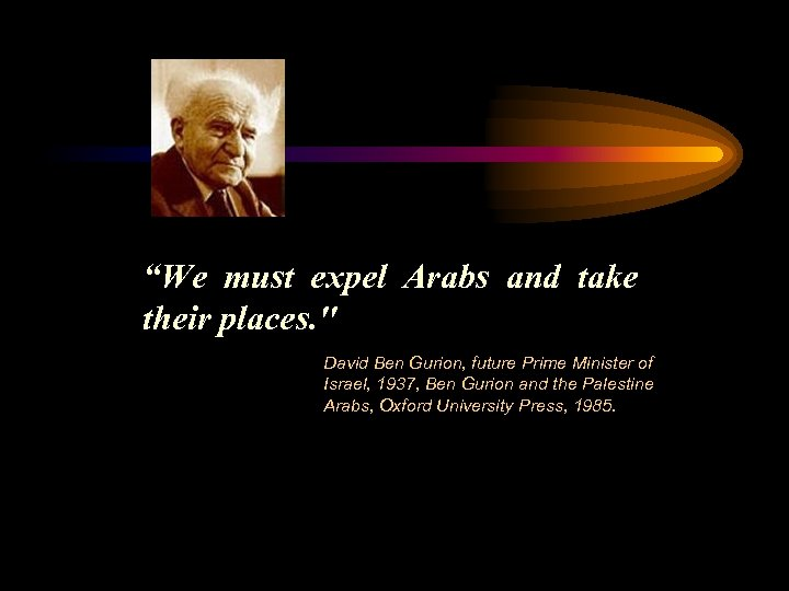 """""""We must expel Arabs and take their places."""