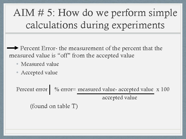 AIM # 5: How do we perform simple calculations during experiments Percent Error- the