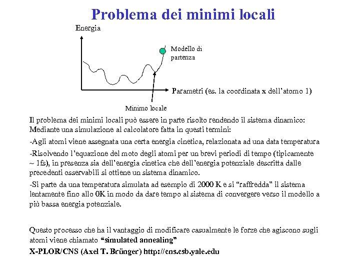 Problema dei minimi locali Energia Modello di partenza Parametri (es. la coordinata x dell'atomo