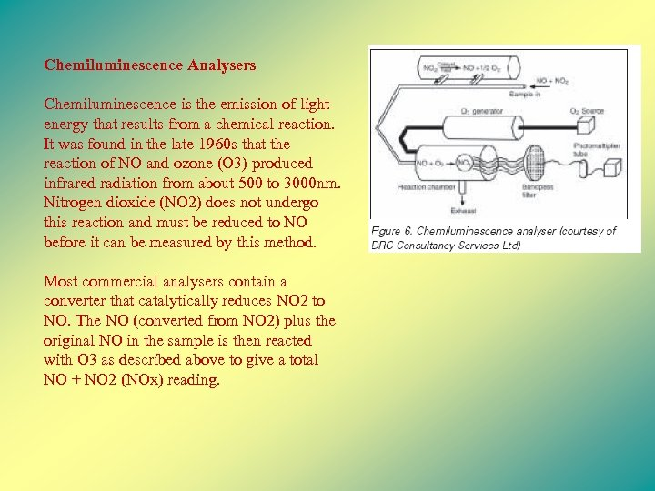 Chemiluminescence Analysers Chemiluminescence is the emission of light energy that results from a chemical