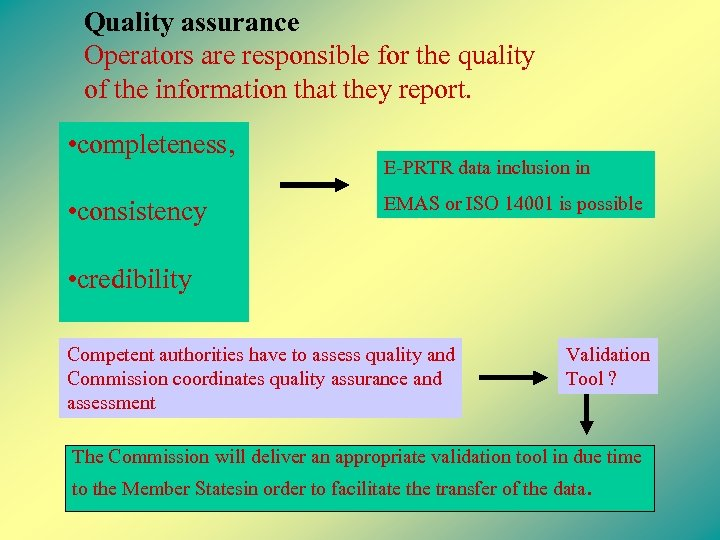 Quality assurance Operators are responsible for the quality of the information that they report.