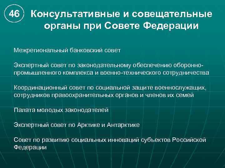 46 Консультативные и совещательные органы при Совете Федерации Межрегиональный банковский совет Экспертный совет по