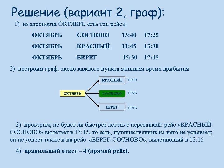 Решение (вариант 2, граф): 1) из аэропорта ОКТЯБРЬ есть три рейса: ОКТЯБРЬ СОСНОВО 13: