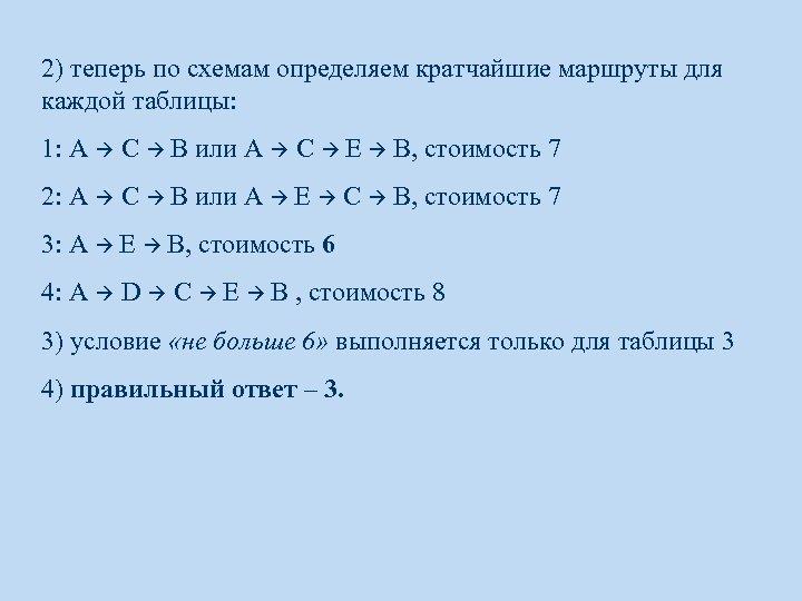 2) теперь по схемам определяем кратчайшие маршруты для каждой таблицы: 1: A C B