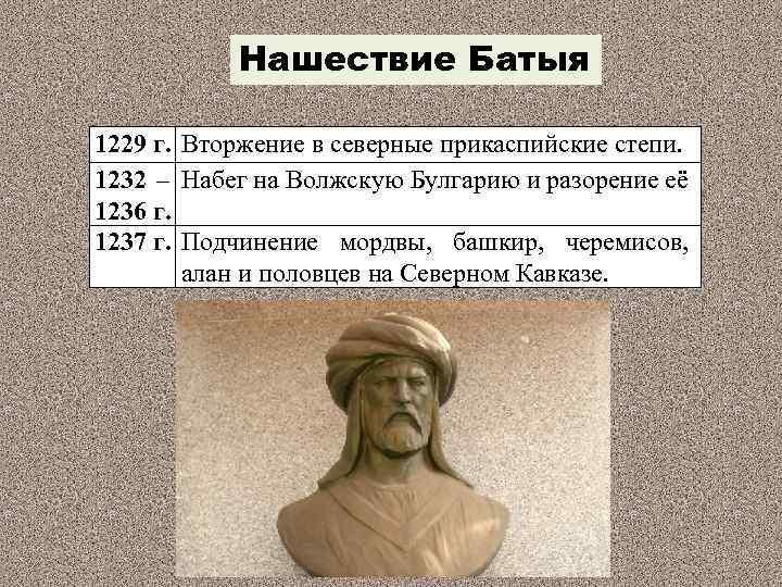 Нашествие Батыя 1229 г. Вторжение в северные прикаспийские степи. 1232 – Набег на Волжскую