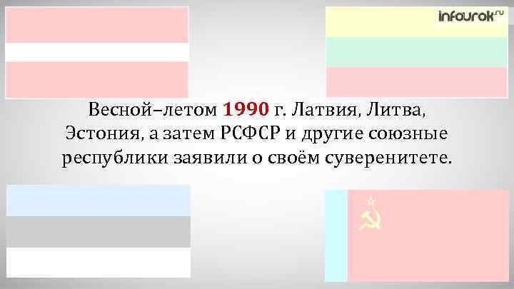Весной–летом 1990 г. Латвия, Литва, Эстония, а затем РСФСР и другие союзные республики заявили