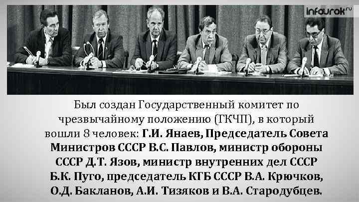 Был создан Государственный комитет по чрезвычайному положению (ГКЧП), в который вошли 8 человек: Г.