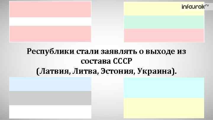Республики стали заявлять о выходе из состава СССР (Латвия, Литва, Эстония, Украина).