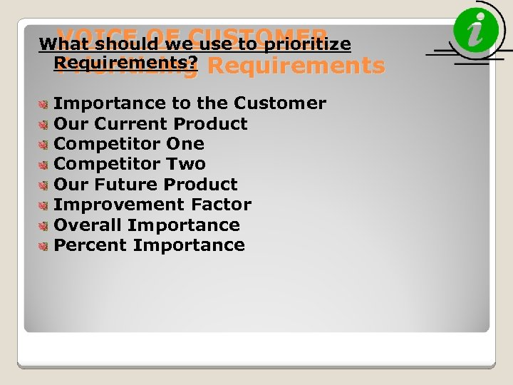 VOICE OF CUSTOMER What should we use to prioritize Requirements? Prioritizing Requirements Importance to