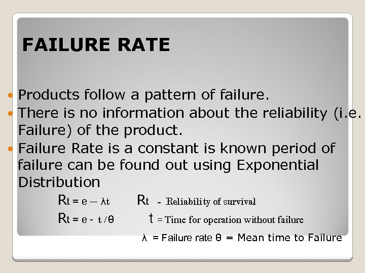 FAILURE RATE Products follow a pattern of failure. There is no information about the