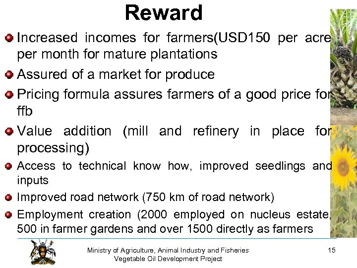 Reward Increased incomes for farmers(USD 150 per acre per month for mature plantations Assured