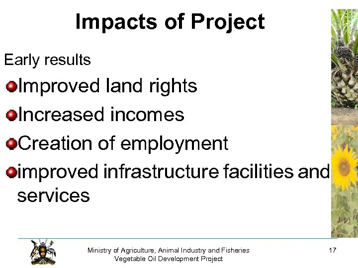 Impacts of Project Early results Improved land rights Increased incomes Creation of employment improved