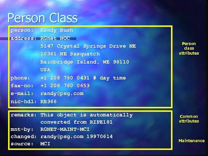 Person Class person: Randy Bush address: RGnet NOC 5147 Crystal Springs Drive NE 10361
