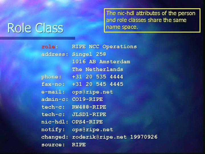 Role Class The nic-hdl attributes of the person and role classes share the same