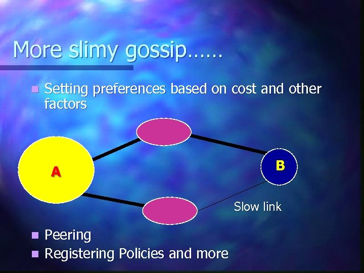 More slimy gossip…… n Setting preferences based on cost and other factors A B