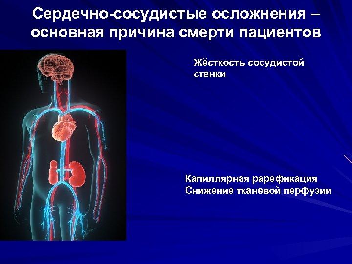 Сердечно-сосудистые осложнения – основная причина смерти пациентов Жёсткость сосудистой стенки Капиллярная рарефикация Снижение тканевой