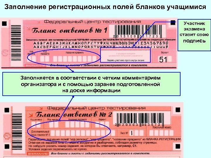Заполнение регистрационных полей бланков учащимися Участник экзамена ставит свою подпись Заполняется в соответствии с