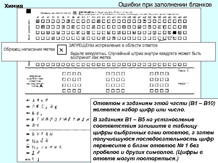 Ошибки при заполнении бланков Химия Образец написания метки ЗАПРЕЩЕНЫ исправления в области ответов Будьте