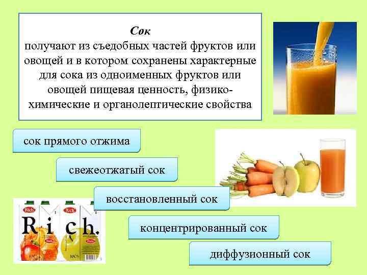 Сок получают из съедобных частей фруктов или овощей и в котором сохранены характерные для
