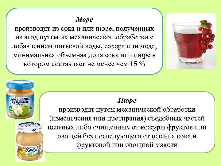 Морс производят из сока и или пюре, полученных из ягод путем их механической обработки