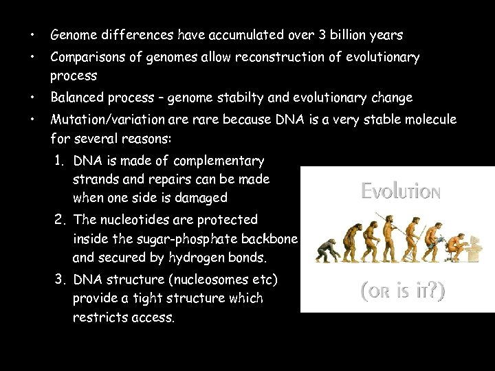 • Genome differences have accumulated over 3 billion years • Comparisons of genomes