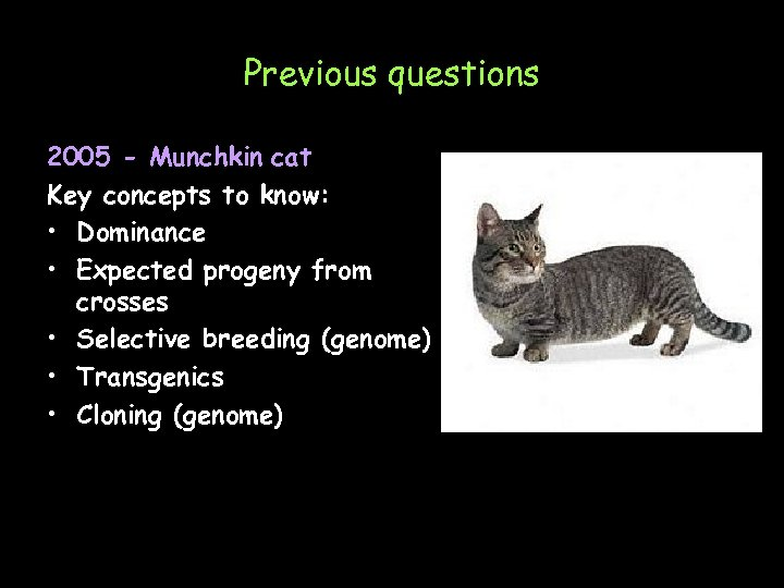 Previous questions 2005 - Munchkin cat Key concepts to know: • Dominance • Expected