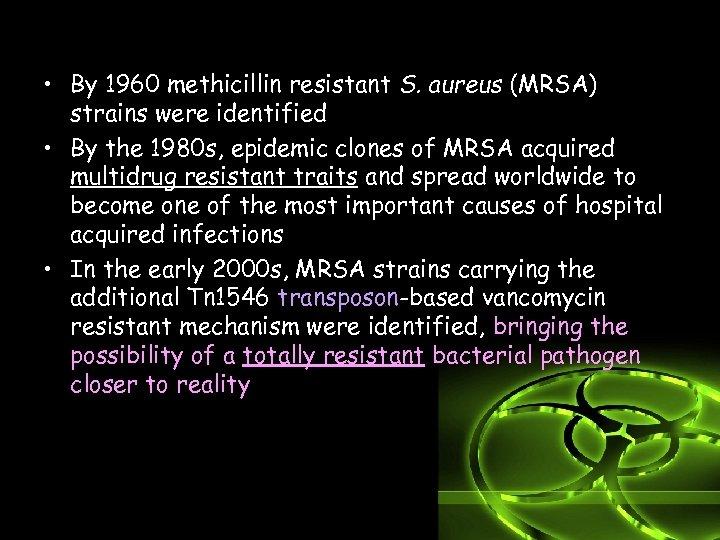 • By 1960 methicillin resistant S. aureus (MRSA) strains were identified • By