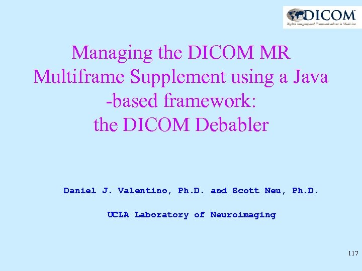 Managing the DICOM MR Multiframe Supplement using a Java -based framework: the DICOM Debabler