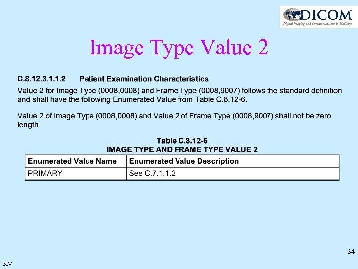 Image Type Value 2 34 KV