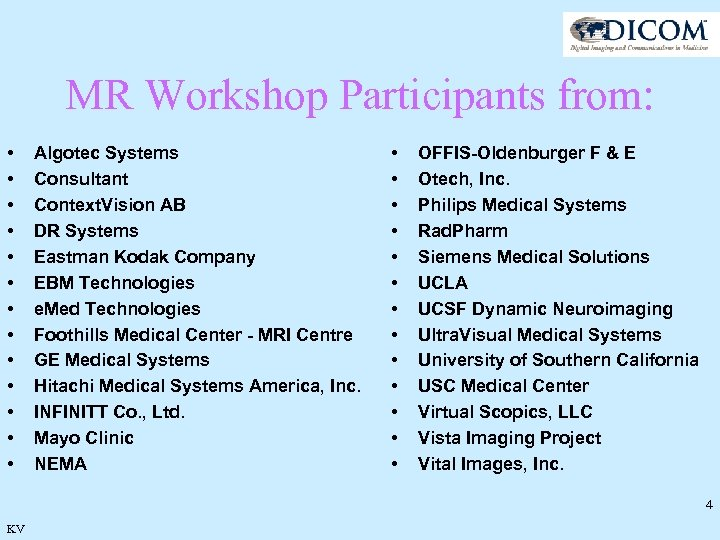 MR Workshop Participants from: • • • • Algotec Systems Consultant Context. Vision AB