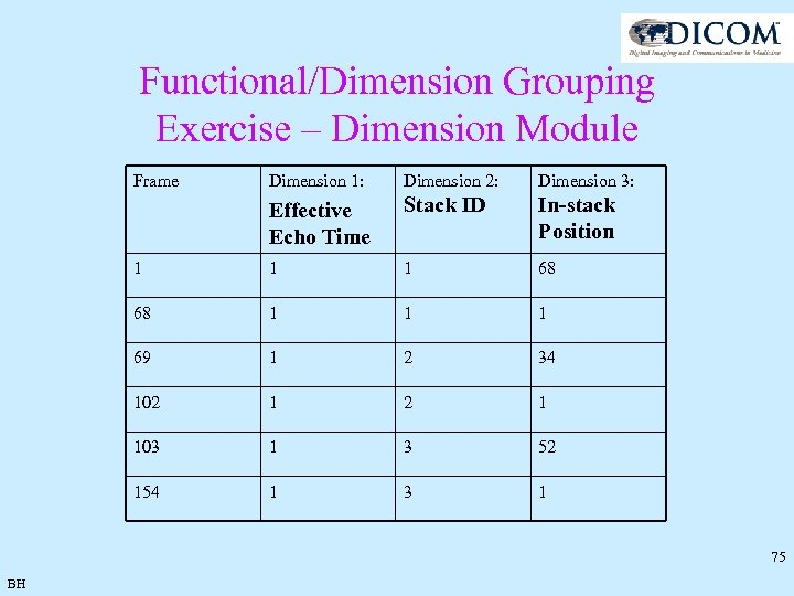Functional/Dimension Grouping Exercise – Dimension Module Frame Dimension 1: Dimension 2: Dimension 3: Effective