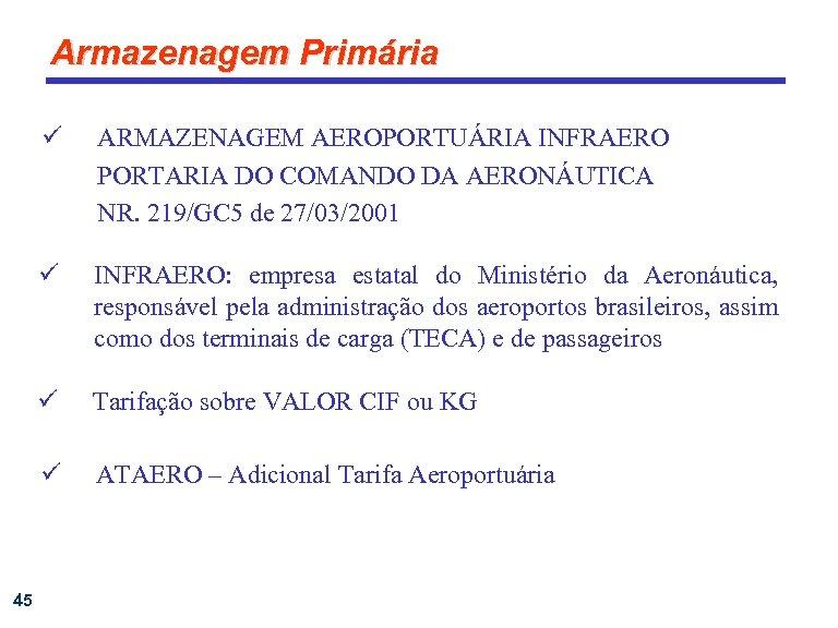 Armazenagem Primária ü ü INFRAERO: empresa estatal do Ministério da Aeronáutica, responsável pela administração